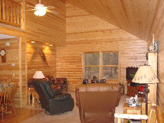 View of the living room at Snowmobile Cabin in Gaylord Michigan